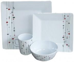 92b49061235 4 Platos llanos cuadrados de 26 cm. 4 Platos postre cuadrados de 20 cm. 4  Bol redondos de diametro 14 cm. 4 Tazas con asas de 25 cl. En color blanco.